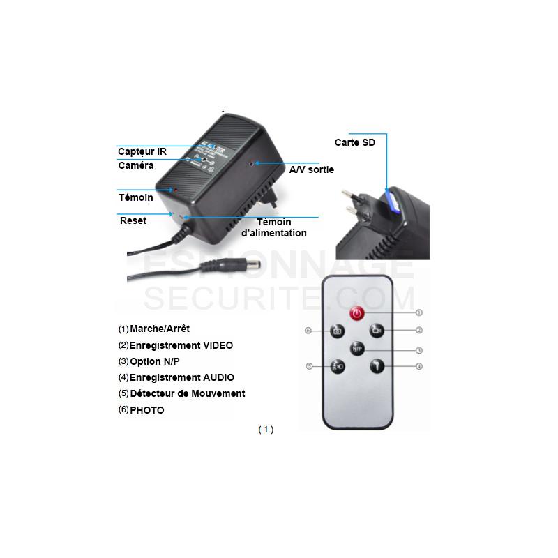 adaptateur secteur universel avec cam ra hd espionnage securite. Black Bedroom Furniture Sets. Home Design Ideas
