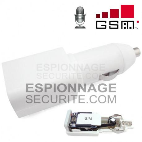 Chargeur USB sur allume cigare Micro espion GSM