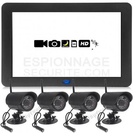 4 cam ras de surveillance sans fil enregistreur. Black Bedroom Furniture Sets. Home Design Ideas