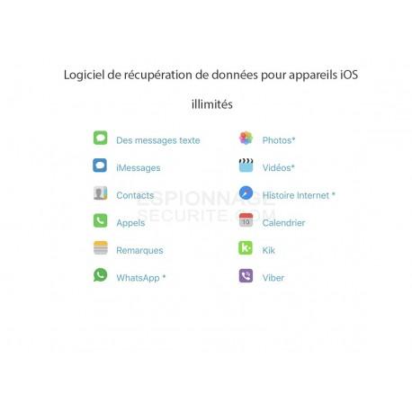 Logiciel de récupération de données pour appareils iOS Illimité